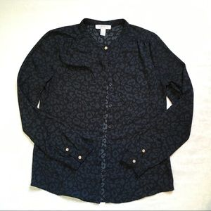 Forever 21 Black Leopard Print Button Up Blouse